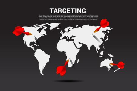 flecha de dardo golpeada en el mapa del mundo. Concepto de negocio de objetivo de marketing global y cliente. Visión de la empresa, misión y objetivo.