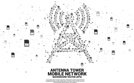 Antenna Tower icon polygon style from dot and line connection with sim card icon. Concept of telecommunication mobile and data technology