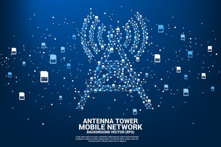 Antennetoren icoon veelhoekstijl van punt en lijn verbinding met simkaart icoon. Concept van mobiele telecommunicatie en datatechnologie