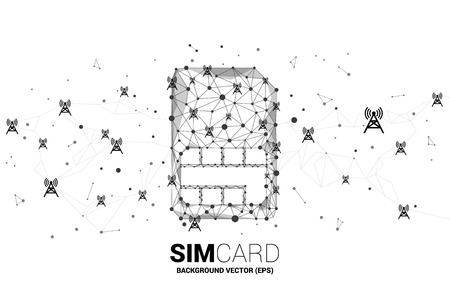 Vector Polygon dot connect line shaped sim card icon with antenna tower. Concept for mobile sim card technology and network.