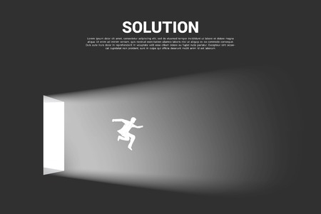 Silhouette of businessman jump out from the door of light. Concept of business direction and solution. Ilustração