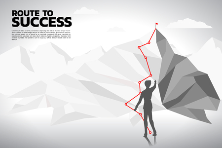 Silhouette of businessman planning to top of mountain. Concept of Goal, Mission, Vision, Career path, Polygon dot connect line style