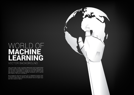 Robot hand touch the finger with world globe. Business concept for machine learning and a.i artificial intelligence