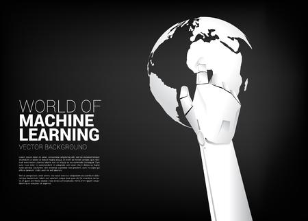 Roboterhand berührt den Finger mit Weltkugel. Geschäftskonzept für maschinelles Lernen und künstliche Intelligenz KI