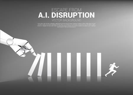 Businessman run away from Domino effect from Robot hand. business concept of disruption of A.I. to make the domino effect. 向量圖像