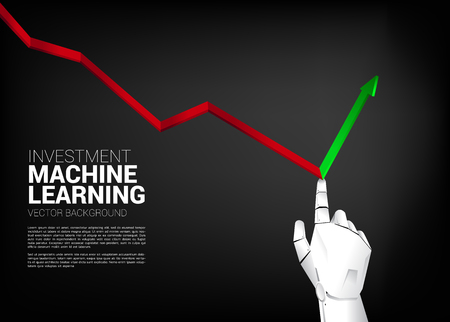 Robot hand push down graph for turn around to growth graph . Business concept for machine learning , a.i artificial intelligence and disruption. Illustration