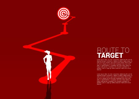 silhouette of businesswoman ready to run on route to dartboard. Business Concept of route to goal.