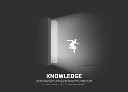 Silhouette of businessman jump out from open book. Concept of knowledge and imagination from reading  イラスト・ベクター素材