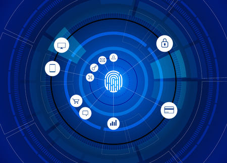 vector thumbprint icon with functional icon on futuristic wheel. sci-fi background concept for finger scan technology and privacy access.
