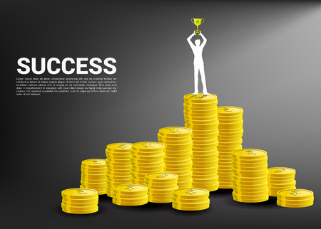 silhouette of businessman with trophy cup on top of stack of coin. Concept of success business and Career path. Imagens - 122937518