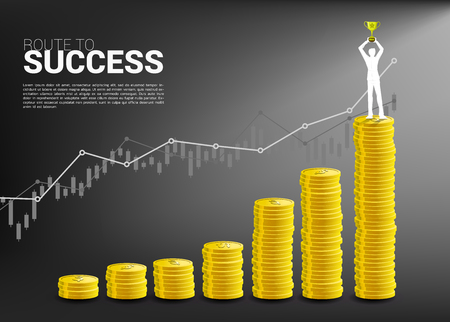 Silhouette of businessman with winner trophy standing on top of and growth graph with stack of coin. Concept of success investment and growth in business Imagens - 122937519