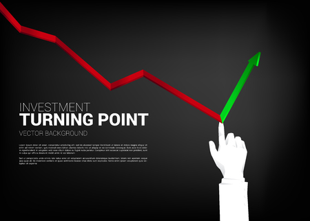 close up Businessman hand push graph to turn around direction. Background concept for making turning point in business Vettoriali