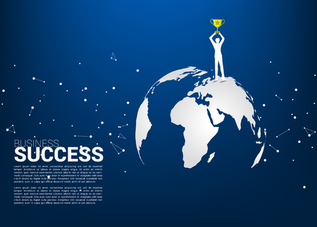 Silhouette of businessman with champion trophy standing on world map. Business Concept of international award winner.