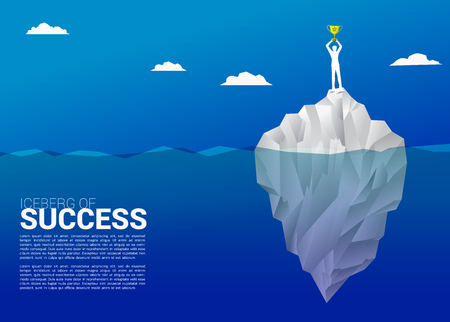 silhouette of businessman with champion trophy on top of iceberg. Concept of growth business, Success in Career path. Illustration