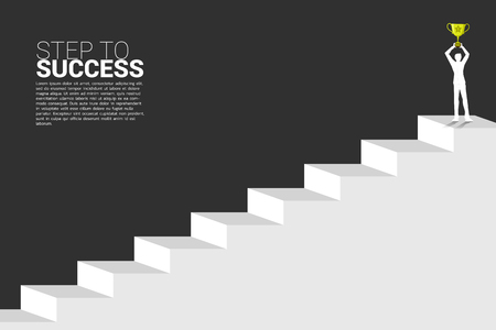 silhouette of businessman with champion trophy on top of stair. Concept of growth business, Success in Career path.