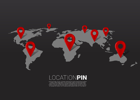 3D-Standort-Pin-Markierung auf der Weltkarte. Konzept für GPS-Navigationssystem-Infografik.