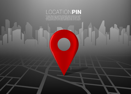3D location pin marker on city road map with building background. Concept for GPS navigation system infographic Ilustracje wektorowe