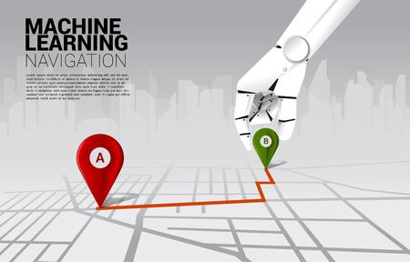 Nahaufnahme Hand des Roboters Ort Pin Marker auf Richtung Route auf der Straßenkarte. Konzept der Ai-Lernmaschine und des Navigationssystems.