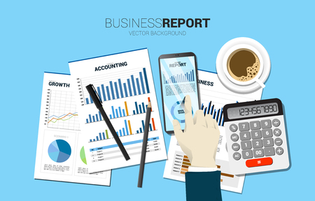 top view table businessman hand touch business graph report in mobile phone with paper and calculator . Concept for digital business growth and trend report