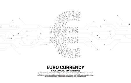 Vector euro currency money icon from circuit board style dot connect line. Concept for digital economy and financial network connection. Vektoros illusztráció