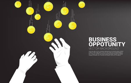 Two Business hand try to grabbing money falling from sky. Concept for business opportunity and competition. Vektoros illusztráció