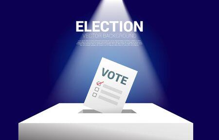 papier de vote mis dans l'urne électorale. concept pour l'arrière-plan du thème du vote électoral. Vecteurs