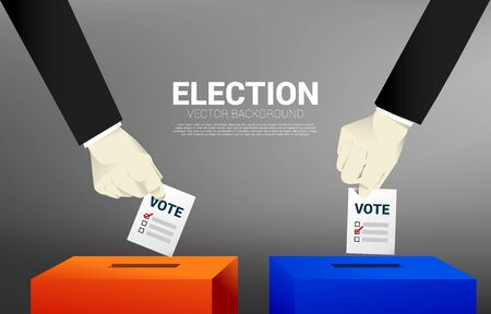 close up two businessman hand put his vote to the red and blue election box. concept for election vote theme background.