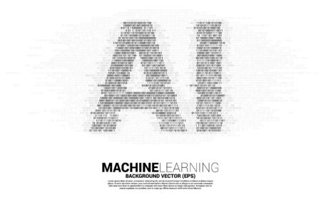 AI from one and zero binary code digit matrix style. concept of machine learning and Artificial Intelligence technology 向量圖像