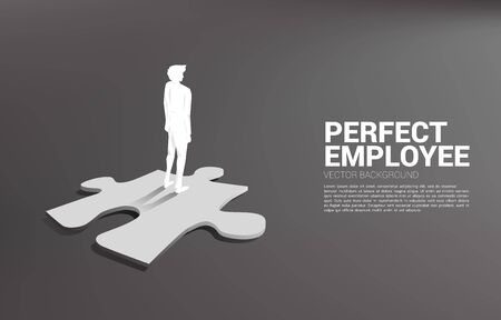Silhouette of businessman standing on jigsaw piece. Concept of perfect recruitment. Human Resource. put the right man on the right job. 向量圖像