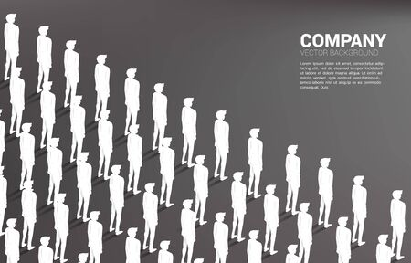 Group of businessman standing together orderly. business concept for job career with company mission and teamwork. Çizim