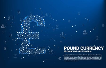 Vector money pound sterling currency icon from Polygon dot connect line. Concept for british financial network connection.