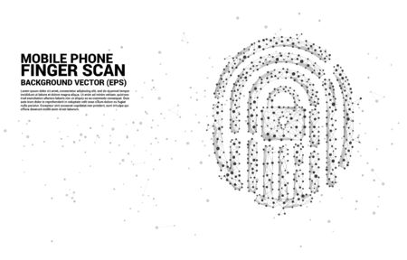 vector thumbprint icon from dot connect line polygon with lock pad center. background concept for finger scan lock technology and privacy access. Illustration