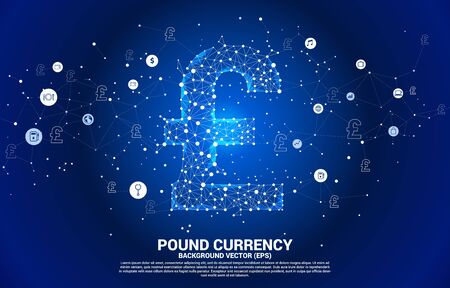 Vector money pound sterling currency icon from Polygon dot connect line. Concept for British financial network connection.  イラスト・ベクター素材