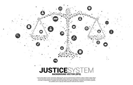 Justice scale with dot and line connection and icon. Background Concept of crime and law system