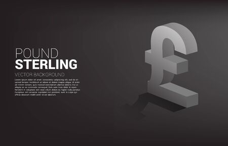 Vector money pound sterling currency icon 3D with shadow. Concept for British financial and banking.