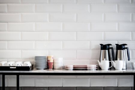 Tea and coffee counter in restaurant. background for food and drink wall Stock Photo