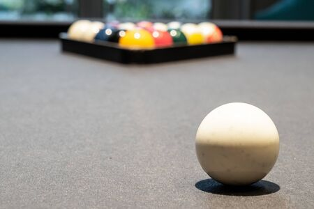 Snooker and Billiard table with ball setup. background for party and sport recreation
