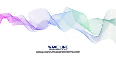 purple green Sound wave line curve on white background. Element for theme technology futuristic vector  イラスト・ベクター素材