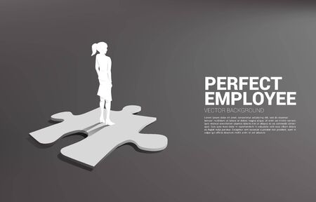 Silhouette of businessman standing on final jigsaw piece. Concept of perfect recruitment. Human Resource. put the right man on the right job. Ilustracja