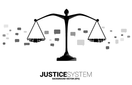 Justice scale with group of speech bubble. Background Concept of social judgment system.