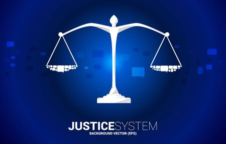 Justice scale with group of speech bubble. Background Concept of social judgment system. Standard-Bild - 129888848
