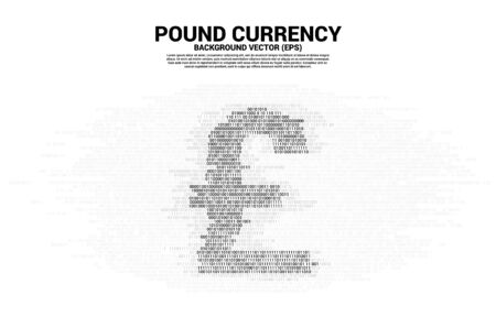 Vector pound sterling currency money with one and zero binary code digit matrix style. Background Concept for electronic money and digital banking Ilustração