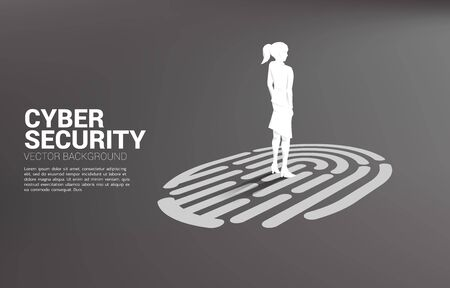 Businesswoman standing on finger scan icon. Background concept for security and privacy technology on network 일러스트