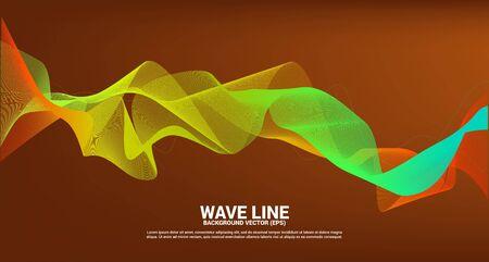 orange green Sound wave line curve on dark background. Element for theme technology futuristic vector