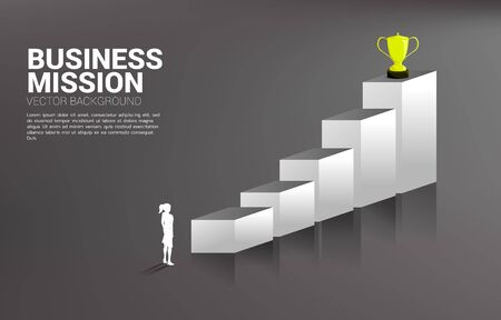 Silhouette businesswoman planning to get trophy on top of graph. Business Concept of goal and vision mission
