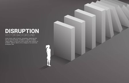Silhouette of businesswoman standing at the end of domino collapse. Concept of business industry disrupt Иллюстрация