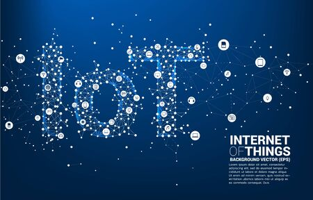 Vector Polygon dot connect line shaped IoT wording. Concept for telecommunication and internet of things.