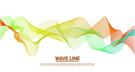 Courbe de ligne d'onde sonore vert orange sur fond sombre. Élément pour vecteur futuriste de technologie de thème Vecteurs
