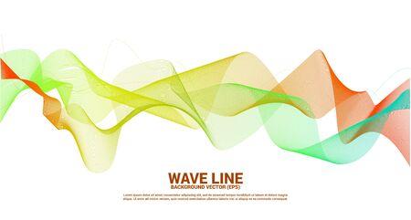 orange grün Schallwellenlinie Kurve auf dunklem Hintergrund. Element für den futuristischen Vektor der Thematechnologie Vektorgrafik