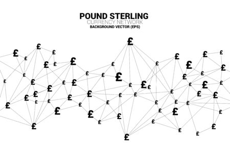 Vector money pound sterling currency icon from Polygon connect line. Concept for British financial network connection.  イラスト・ベクター素材